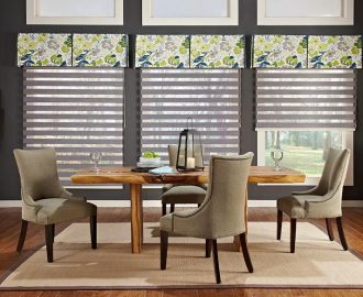 box-valance-with-kick-pleats_fabric-blinds-with-sheers_allure-shades_dining-room_purple_abda-window-fashions