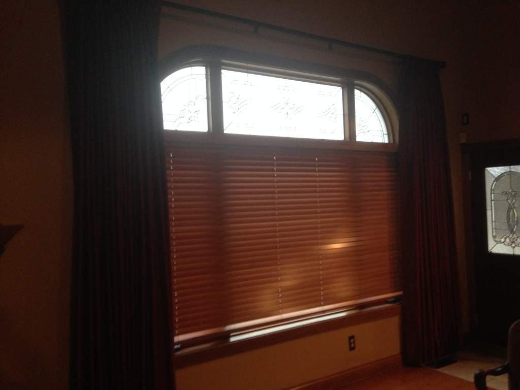 Functioning curtains draperies with transom window not covered