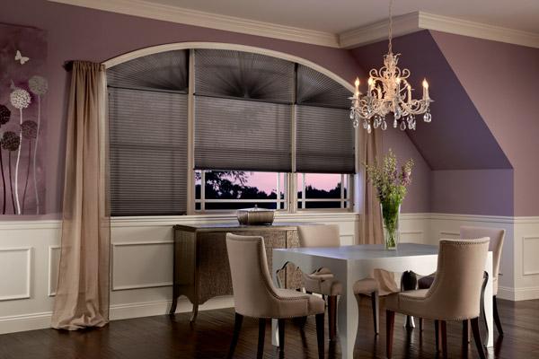 Graber Arch Cellular Shade diningroom black swan