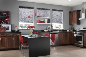 Graber Roller Shades Black and Gray Kitchen