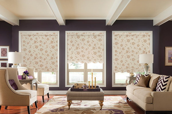 Graber Roller Shades Scalloped Hem Living Room Abda