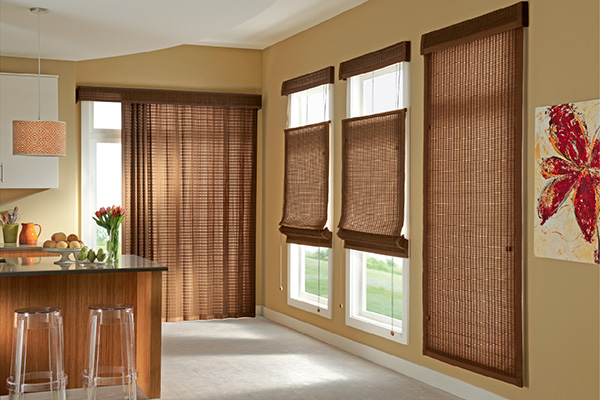 Graber Woven Wood roman Shades Kitchen
