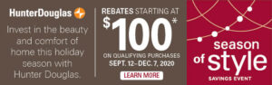 Holiday Rebates on Hunter Douglas Poducts
