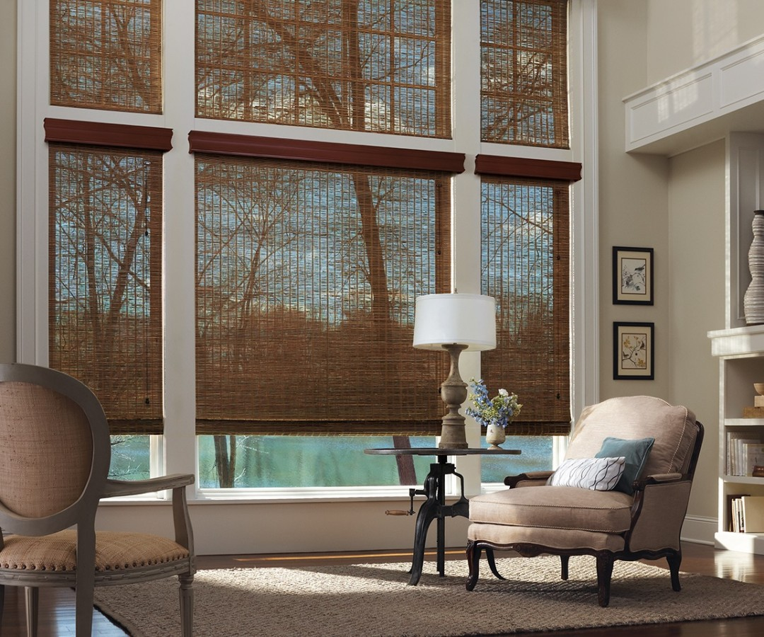 Woven Wood, Roman Shades, Wood Cornices